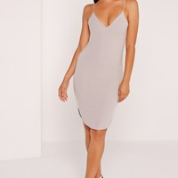 Missguided - Strappy Curve Hem Midi Dress Ice Grey