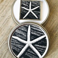 Black and White Starfish Photo Pendant Necklace with Gift Tin | twinkink - Jewelry on ArtFire