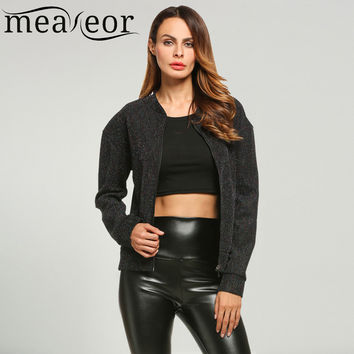 Meaneor Brand Ladies Bomber Jackets Fashion Glitter Look Stand Collar Drop-Shoulder Black Basic Jacket With 2016 Christmas Gift