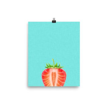 Blue Strawberry Poster