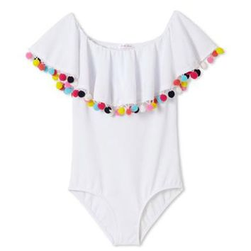 White Pom Pom Ruffle One Piece Swimsuit (Kids)