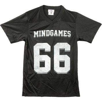 Palisades Men's  Mind Games Footbal  Jersey Black Rockabilia