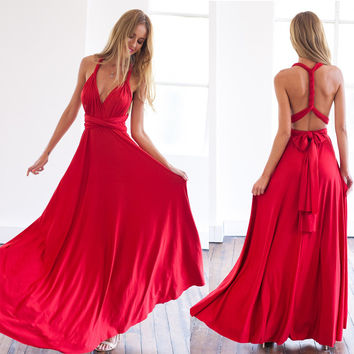11 color 2016 summer sexy women maxi dress red bandage long dress sexy Multiway Bridesmaids Convertible Dress robe longue femme