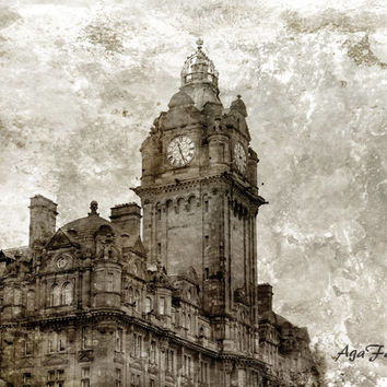 Scotland Photography, Edinburgh Print, Scotland Art, Clock Art, Victorian Art, Sepia Print, Travel Photography,  Brown - Tick Tock