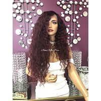 Red Burgundy Hair Swiss Lace Front Wig 25"
