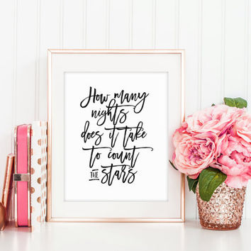 ONE DIRECTION QUOTE,Infinity,Inspirational print,Stars Print,Black And White,Hand Lettering,One Direction Print,Printable Art,Quote Print
