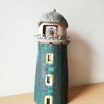 Ceramic lighthouse sculpture, stoneware lighthouse wall hanging in oxidised blue with dome roof and three windows, Greek hand built pottery