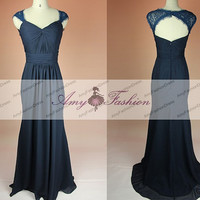 Sexy Long Chiffon Mermaid Navy Blue Bridesmaid Dress Long Bridesmaid Dress Open Back Prom Dress Backless Formal Evening Dress Prom