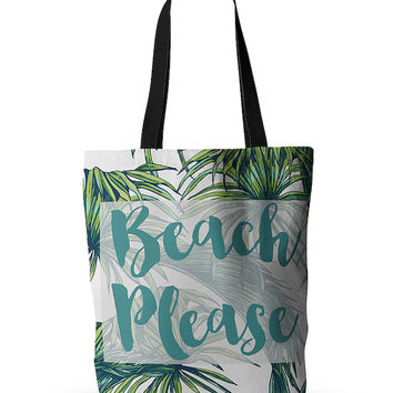 Beach Please Tropical Quote Floral Funny Wedding Bride Future Mrs Wife Fashion Gift Tote Bag 18x18