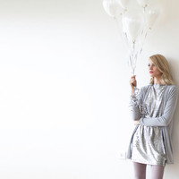 Knitted grey short cardigan with long sleeves, Knit winter coatigan