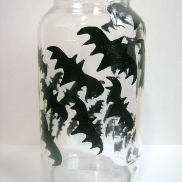 Halloween Mason Jar Glass Candle Holder Bats Shadows Black Upcycled Glass Home Decor Halloween decoration