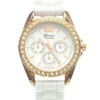 WHITE ROSE GOLD STN WATCH