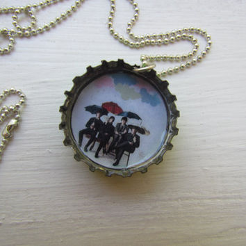 "The Beatles Bottlecap Necklace, 18"" Silver Ball Chain"