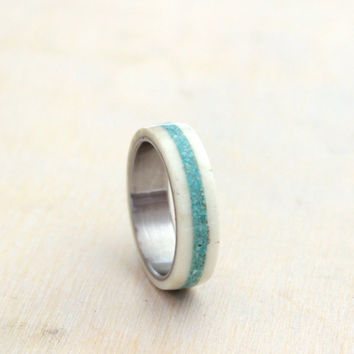 Women's ring wedding band ring stainless steel and fine selected deer antler with crushed turquoise inlay