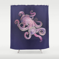 Octopus Wall Tapestry Life Under the Sea Purple White Background Ocean Mammal  Nautical Dorm Room Beach Cabin Home Decor
