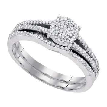 Diamond Micro-pave Bridal Set in 10k White Gold 0.33 ctw