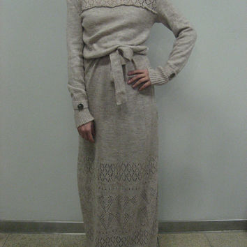 Crochet dress Maxi winter dress Floor dress Knit Beige Dress Turtleneck Dress Handmade Dress Wool dress Vintage Dress long sleeves dress