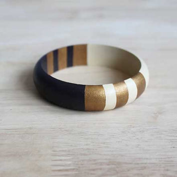 hand painted wooden bangle in dark brown, creme and bronze gold - 20 mm wide // eco-friendly tribal inspired jewelry for her