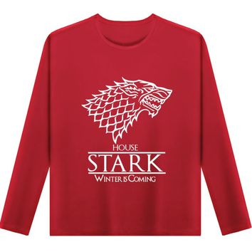 Plus size large  O-neck man fashion autumn casual men's TOP Game of thrones House Stark graphic full sleeve loose fit T-shirt