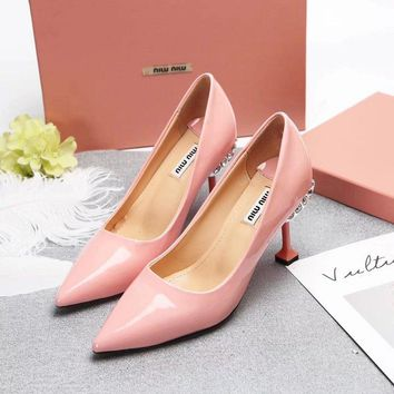 Prada Miu Miu Leather Pumps With Jewels Pink - Best Deal Online