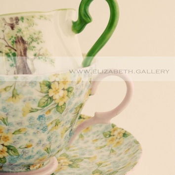 Bright and Cheerful Tea Cup Photography 8x10 Wall Print - Pink and Green Vintage Tea Cup Print 8x10