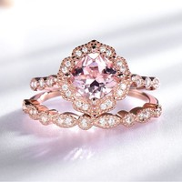 925 Sterling Silver Ring Set Female Morganite Engagement Wedding Band Bridal Vintage Stacking Rings For Women Fine Jewelry