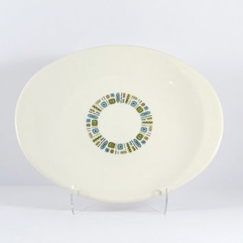 Vintage 1950s Temporama by Canonsburg atomic pattern 12 inch handled serving platter, Mid-Century Modern