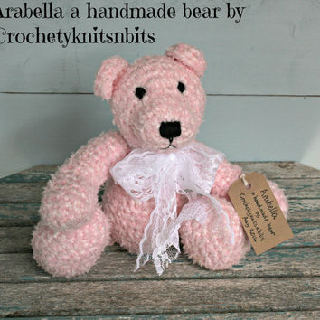"12"" handmade pink crochet teddy bears Crocheted teddybear Soft toys Stuffed animals Nursery Home decor Birthday Anniversary Christmas gifts"