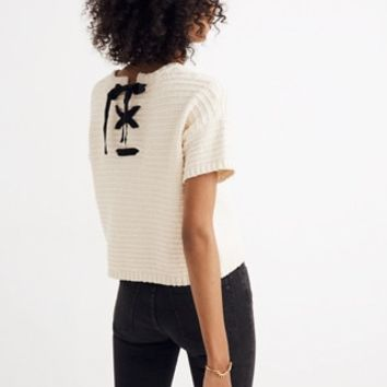Lace-Back Sweater Tee