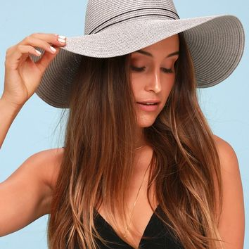 Broaden Your Horizons Grey Straw Floppy Sunhat