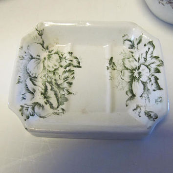 Green Transferware Soap Dish Antique Soap Dishes Green Transfer ware  Transferware Green Warwick China