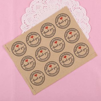 120PCS/Set Thank You Retro Stickers Kraft Paper Label Thank You Sticker Round Labels Paper Stationery Sticker
