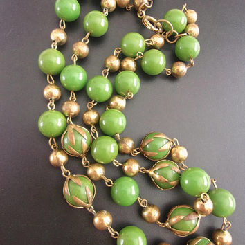 Green Bakelite Gold Bead Necklace, Double Strand, Cage-Like End Caps, Vintage