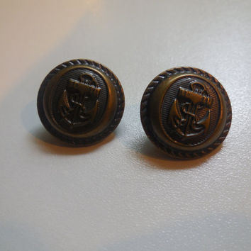 2 Nautical Buttons, Antique Brass, Anchor, Sewing, Crafts, Hair Bows, Navy Club, Yacht Club, Metal, Metal Shank