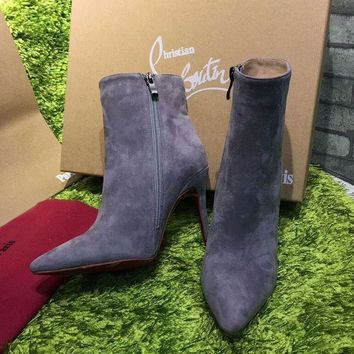 ONETOW Best Online Sale Christian Louboutin CL Top Suede Ankle Boot Grey