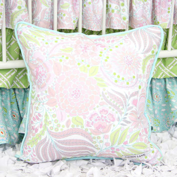 Sweet Caroline Ruffle Baby Bedding | Pastel Shades Pink Green and Blue Square Pillow Cover