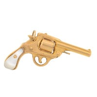 Art Deco Mother of Pearl Gold Gun Pendant