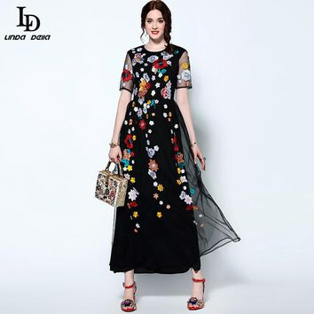 High Quality Newest Long Black Dress Women's Short sleeves Stunning Floral Embroidered Vintage Maxi Dress