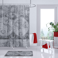 Antique Gray World  Map Shower Curtain - Gray and white, charcoal, masculine, dark - gray Grey