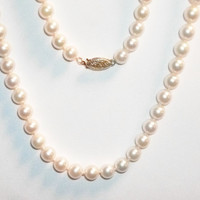 Beautiful String of Genuine 6 mm Cultured White Pearls , 14k Clasp - Fine Estate Jewelry