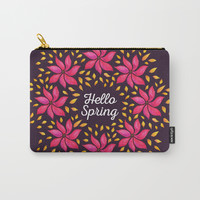 Hello Spring Watercolor Flowers Wreath Carry-All Pouch by borianagiormova