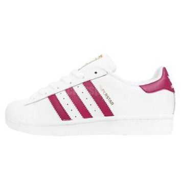 Adidas Originals Superstar Foundation J White Pink Girls Womens Shoes B23644