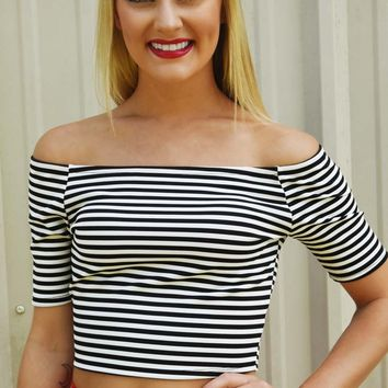 Only In America Crop Top: Black/White - What's New - Hope's Boutique