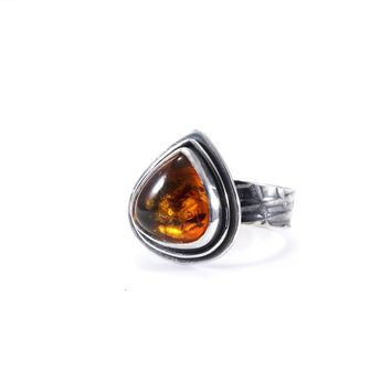 Baltic Amber and Silver Ring Size 8