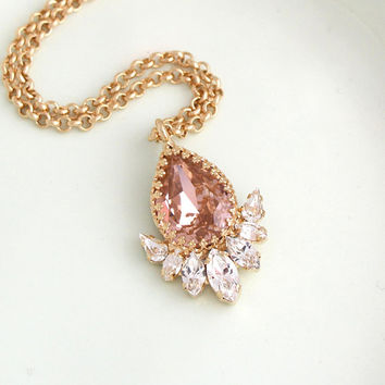 Blush Necklace, Morganite Necklace, Bridal Necklace, Rose Gold Necklace, Blush Crystal Necklace, Bridesmaids Swarovski Crystal Necklaces