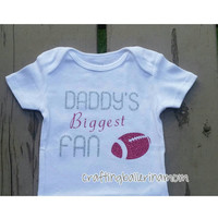 Daddy's Biggest Fan - Father's day - Baby Girl Onesuit - Glitter - Silver Hot Pink - Baby Shower Gift - Funny Baby Onesuit - Shirt - Sports