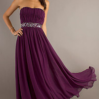 Strapless Evening Gown with Embellished Waist