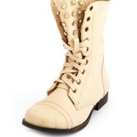 RHINESTONE STUD LACE-UP COMBAT BOOT