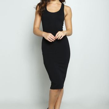 Solid Stretchy Black Tank Dress
