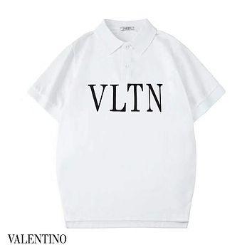 Valentino 2019 new simple letter printing men and women round neck half sleeve t-shirt white